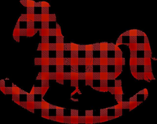 Silueta houpacího koně-červeno černá kostka