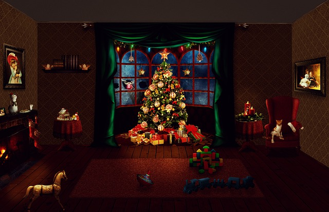 Potemnělý pokoj s rozzářeným vánočním stromkem